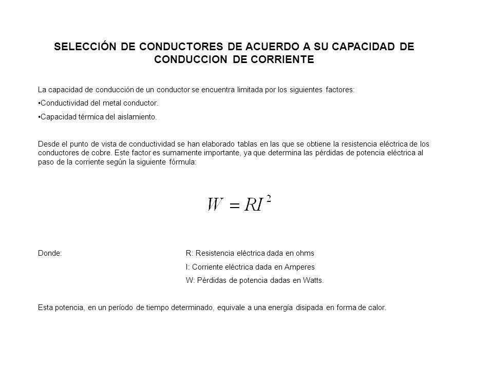 SELECCIÓN DE CONDUCTORES DE ACUERDO A SU CAPACIDAD DE CONDUCCION DE CORRIENTE