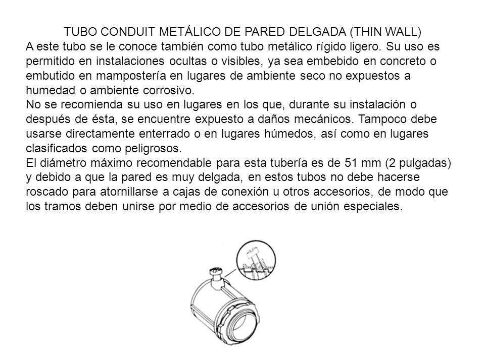 TUBO CONDUIT METÁLICO DE PARED DELGADA (THIN WALL)