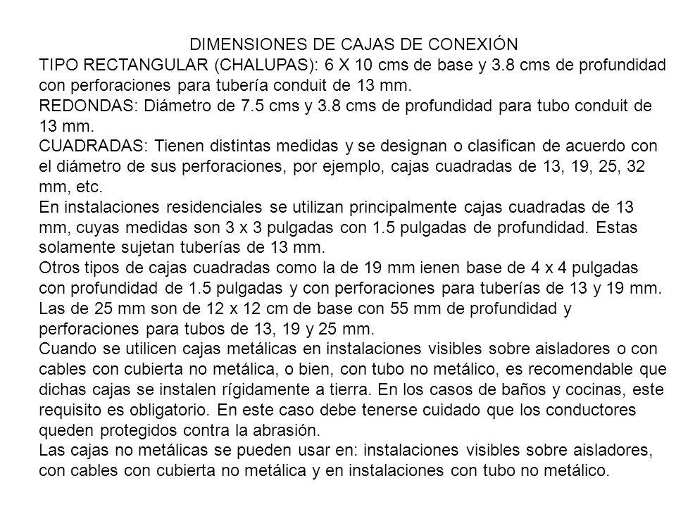DIMENSIONES DE CAJAS DE CONEXIÓN