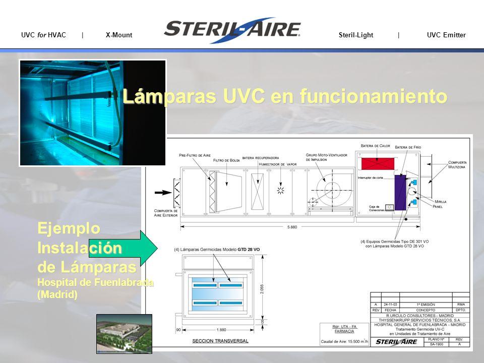 Lámparas UVC en funcionamiento