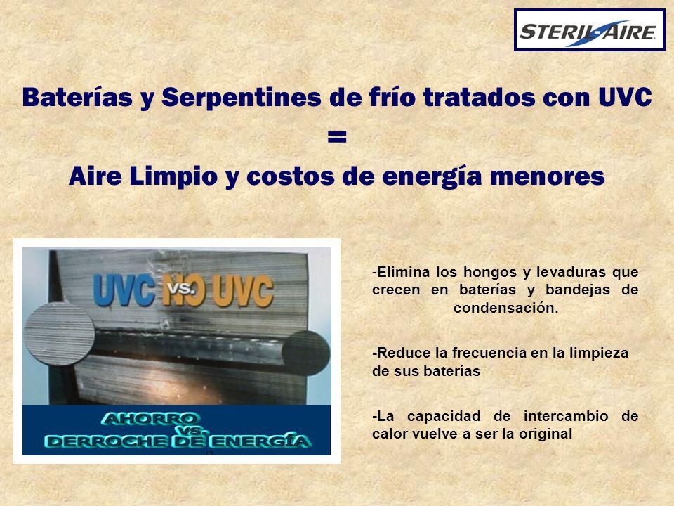Baterías y Serpentines de frío tratados con UVC = Aire Limpio y costos de energía menores
