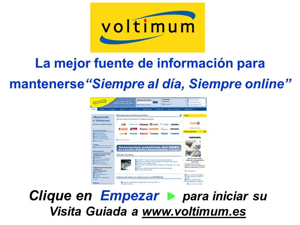 Clique en Empezar para iniciar su Visita Guiada a www.voltimum.es
