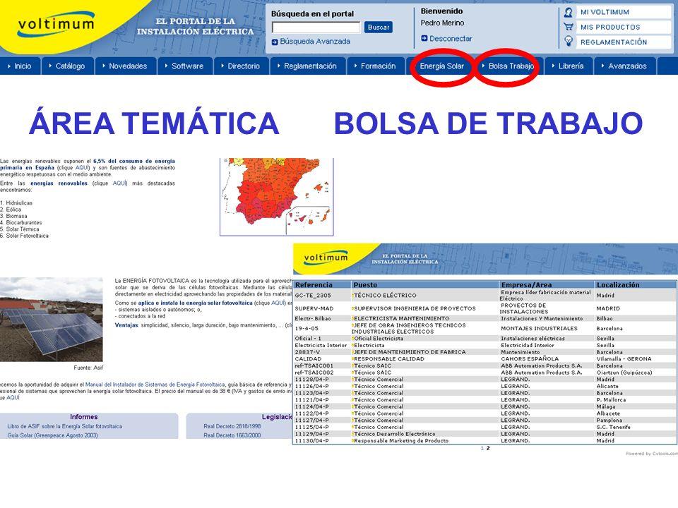 ÁREA TEMÁTICA BOLSA DE TRABAJO