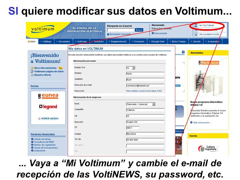 SI quiere modificar sus datos en Voltimum...