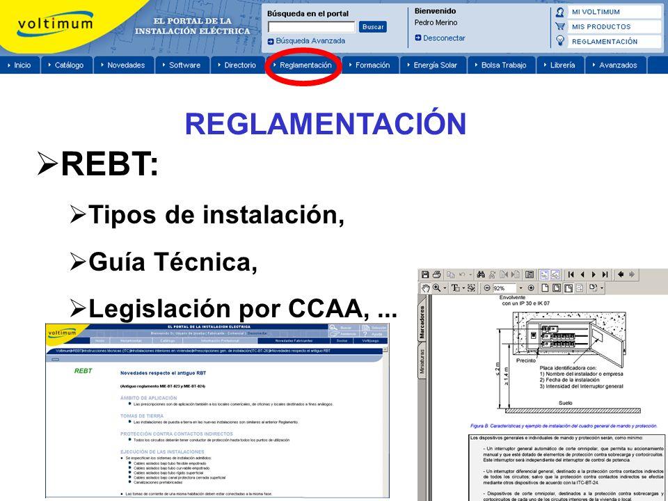 REBT: REGLAMENTACIÓN Tipos de instalación, Guía Técnica,