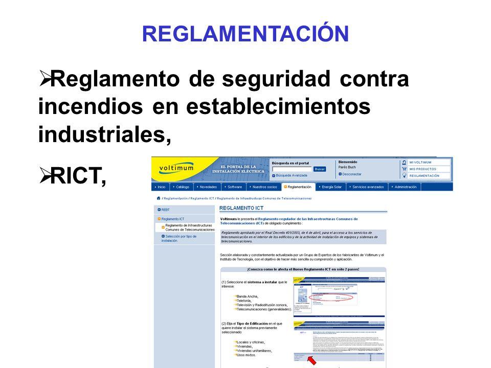 REGLAMENTACIÓN Reglamento de seguridad contra incendios en establecimientos industriales, RICT,