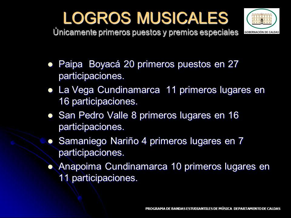LOGROS MUSICALES Únicamente primeros puestos y premios especiales