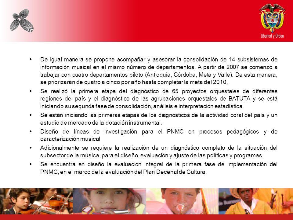 De igual manera se propone acompañar y asesorar la consolidación de 14 subsistemas de información musical en el mismo número de departamentos. A partir de 2007 se comenzó a trabajar con cuatro departamentos piloto (Antioquia, Córdoba, Meta y Valle). De esta manera, se priorizarán de cuatro a cinco por año hasta completar la meta del 2010.