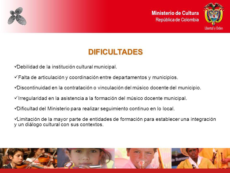 DIFICULTADES Ministerio de Cultura República de Colombia