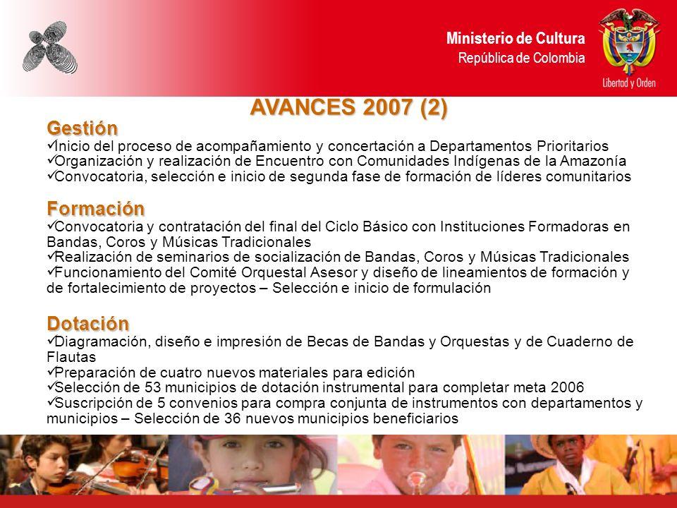 AVANCES 2007 (2) Gestión Formación Dotación