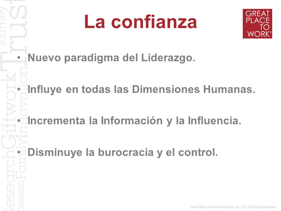 La confianza Nuevo paradigma del Liderazgo.