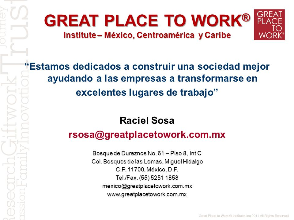 GREAT PLACE TO WORK® Institute – México, Centroamérica y Caribe