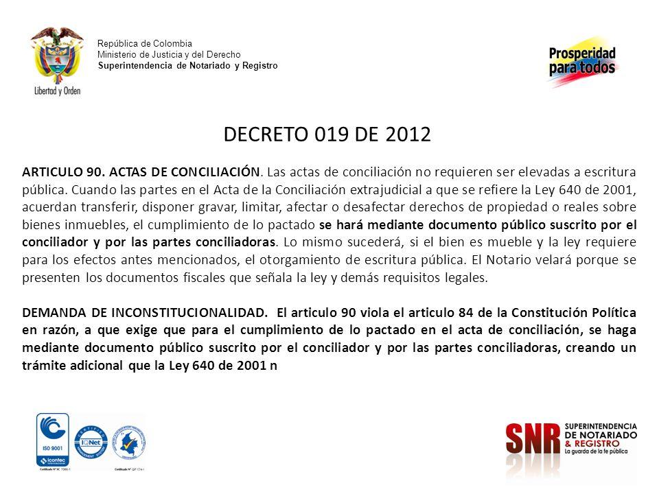 República de Colombia Ministerio de Justicia y del Derecho Superintendencia de Notariado y Registro.
