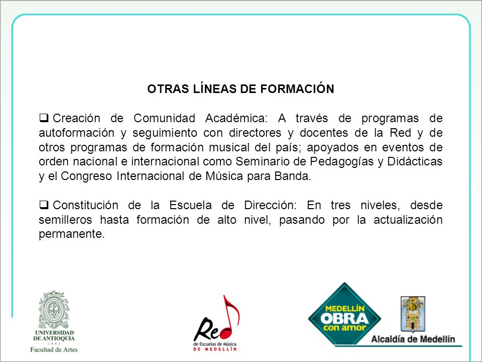 OTRAS LÍNEAS DE FORMACIÓN