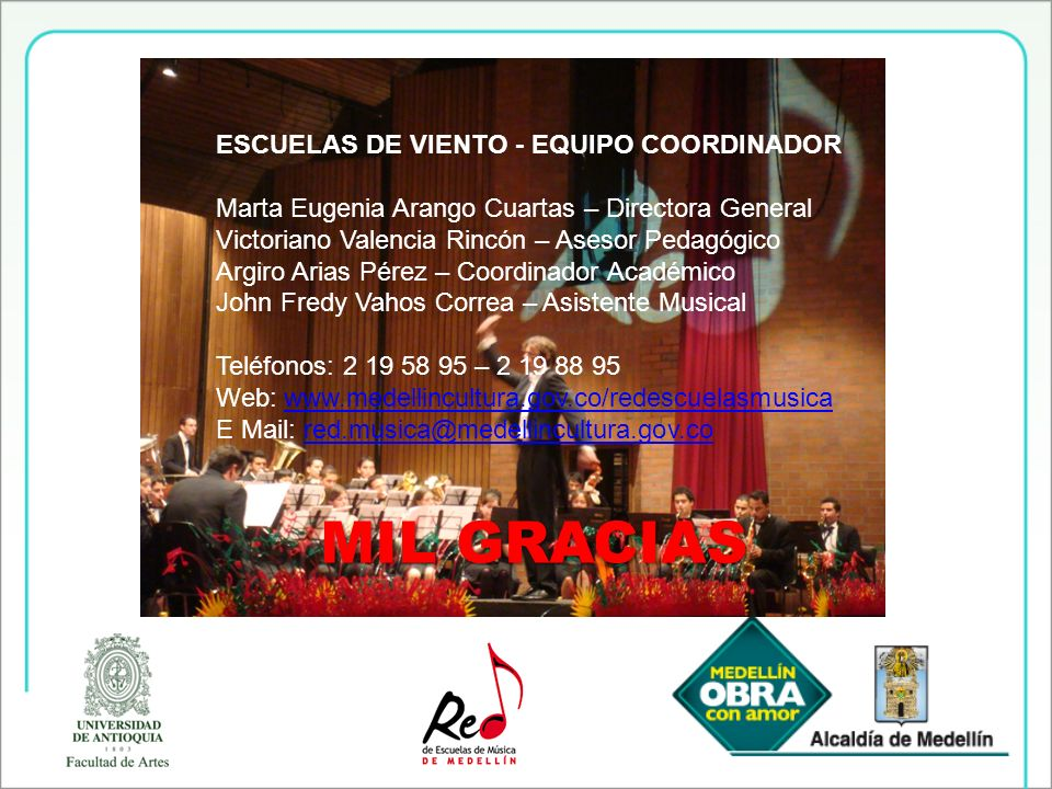 MIL GRACIAS ESCUELAS DE VIENTO - EQUIPO COORDINADOR