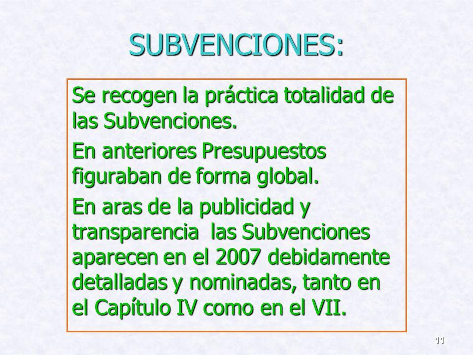 SUBVENCIONES: Se recogen la práctica totalidad de las Subvenciones.