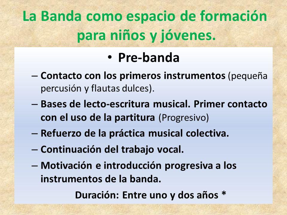 La Banda como espacio de formación Duración: Entre uno y dos años *