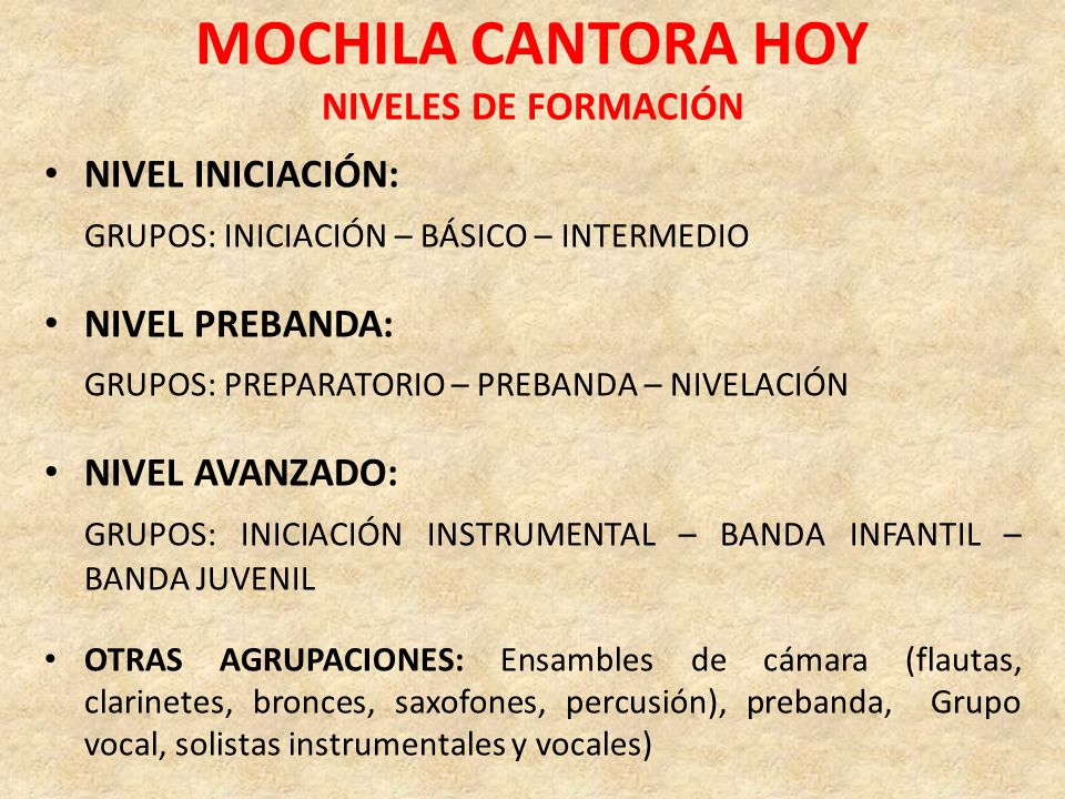 MOCHILA CANTORA HOY NIVELES DE FORMACIÓN