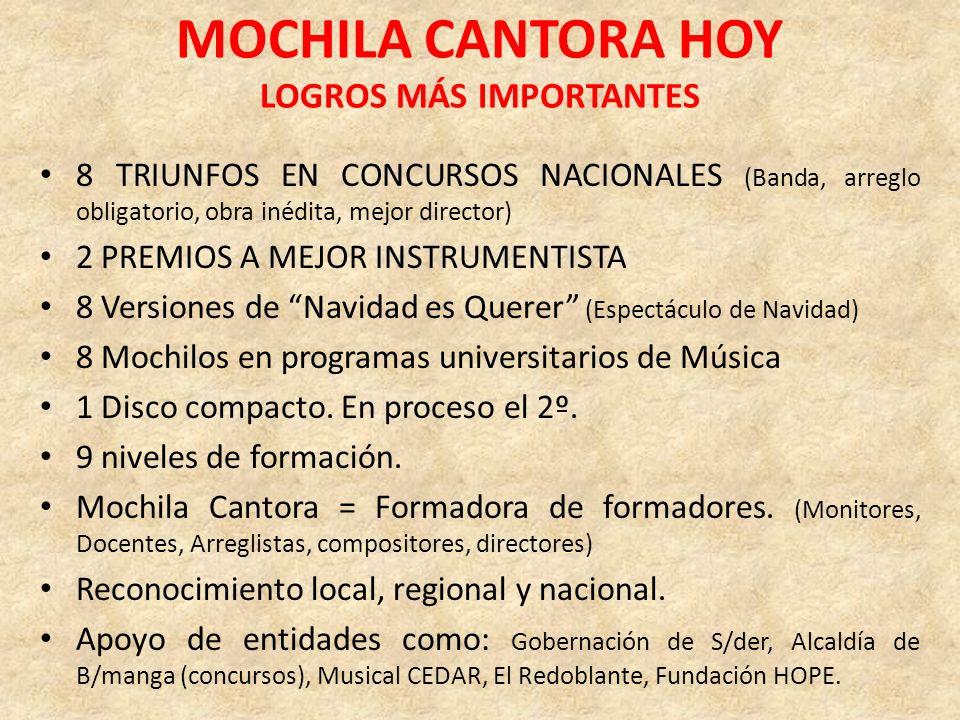 MOCHILA CANTORA HOY LOGROS MÁS IMPORTANTES