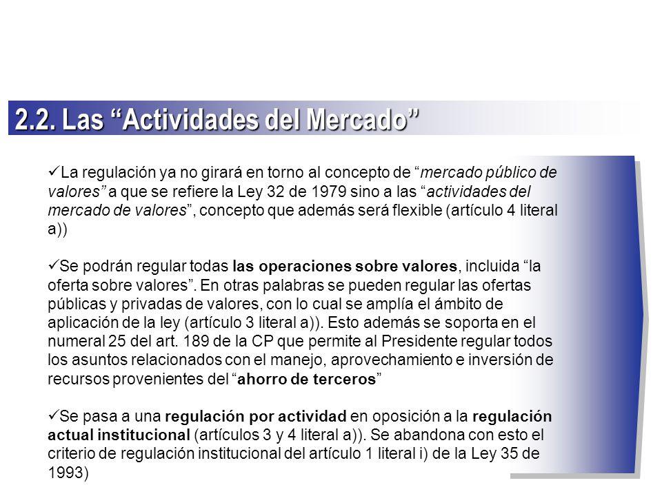 2.2. Las Actividades del Mercado