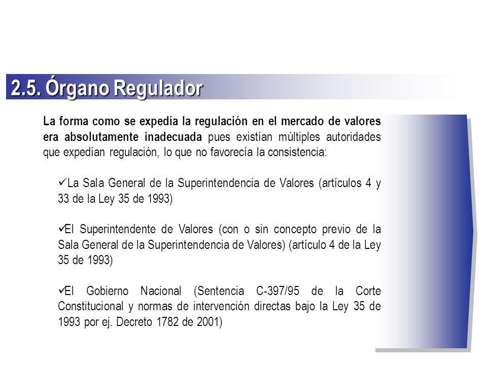 2.5. Órgano Regulador