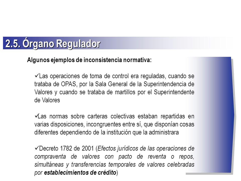 2.5. Órgano Regulador Algunos ejemplos de inconsistencia normativa: