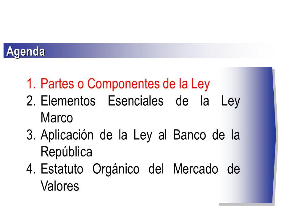 Partes o Componentes de la Ley Elementos Esenciales de la Ley Marco