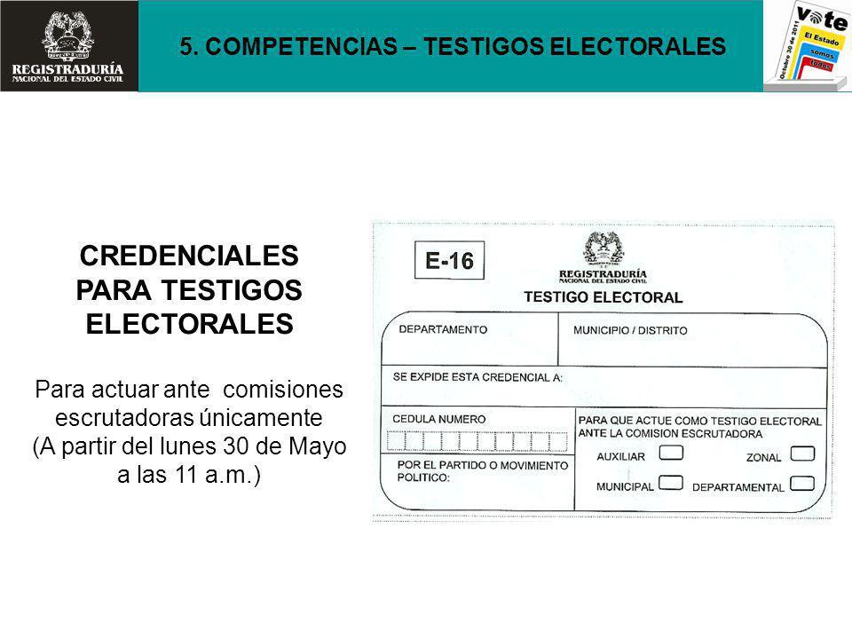 CREDENCIALES PARA TESTIGOS ELECTORALES