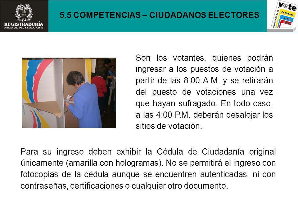 5.5 COMPETENCIAS – CIUDADANOS ELECTORES
