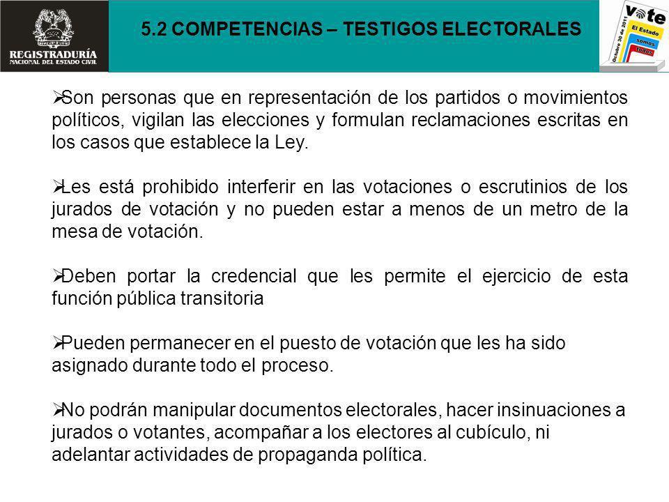 5.2 COMPETENCIAS – TESTIGOS ELECTORALES