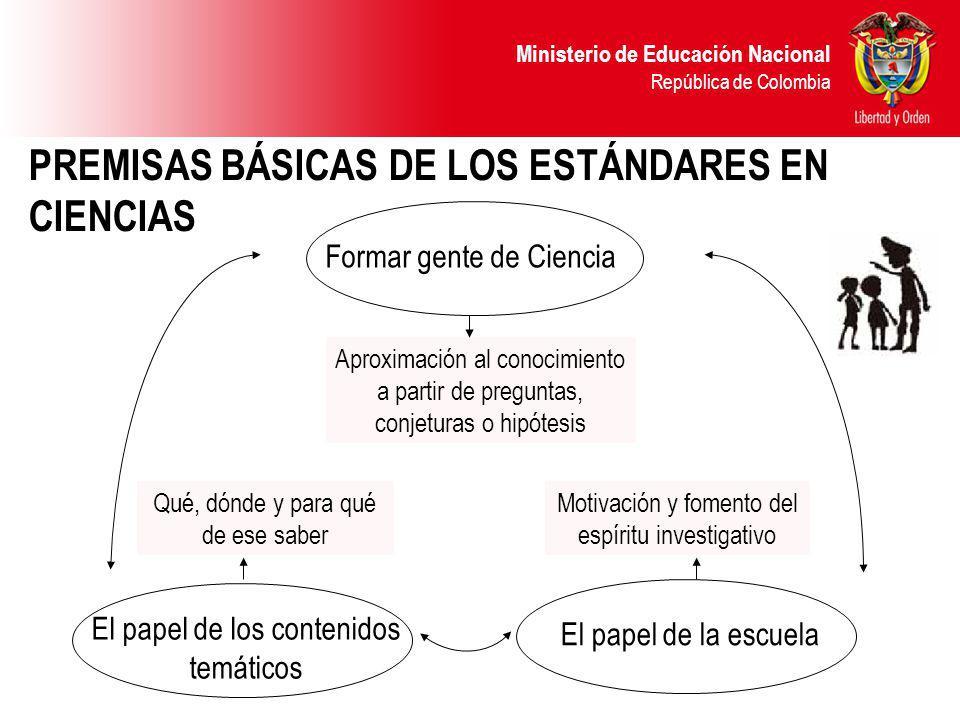PREMISAS BÁSICAS DE LOS ESTÁNDARES EN CIENCIAS