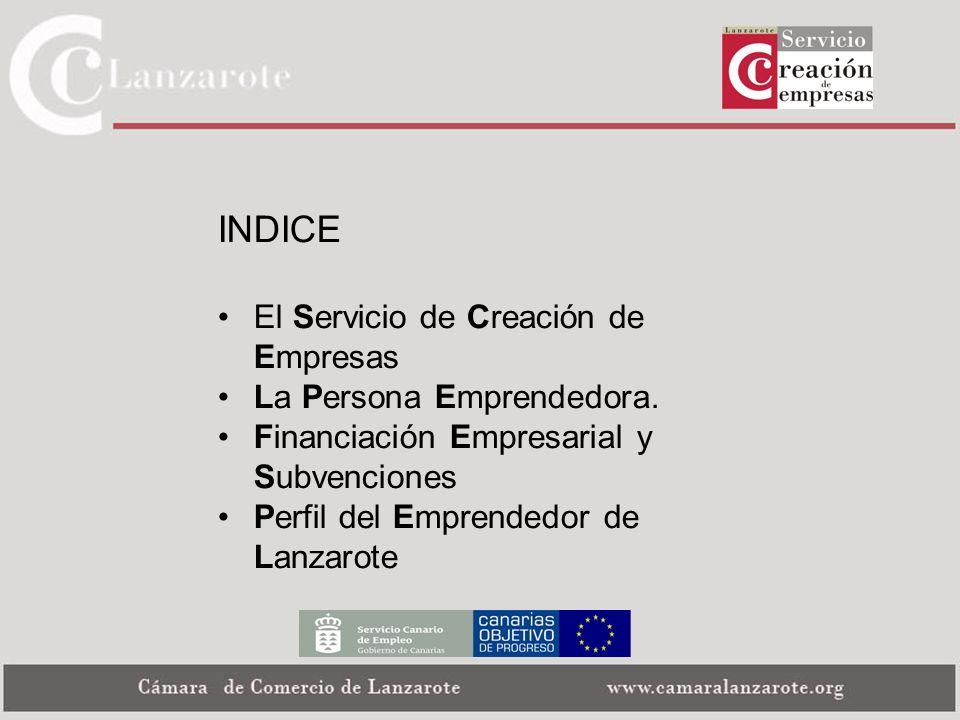 INDICE El Servicio de Creación de Empresas La Persona Emprendedora.