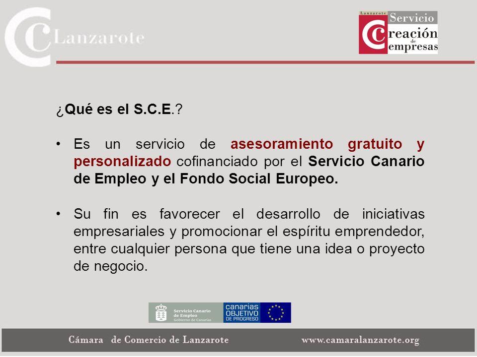 ¿Qué es el S.C.E. Es un servicio de asesoramiento gratuito y personalizado cofinanciado por el Servicio Canario de Empleo y el Fondo Social Europeo.