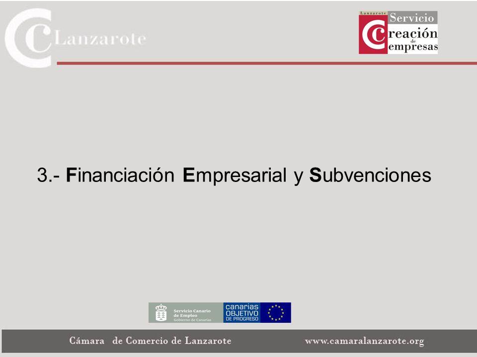 3.- Financiación Empresarial y Subvenciones