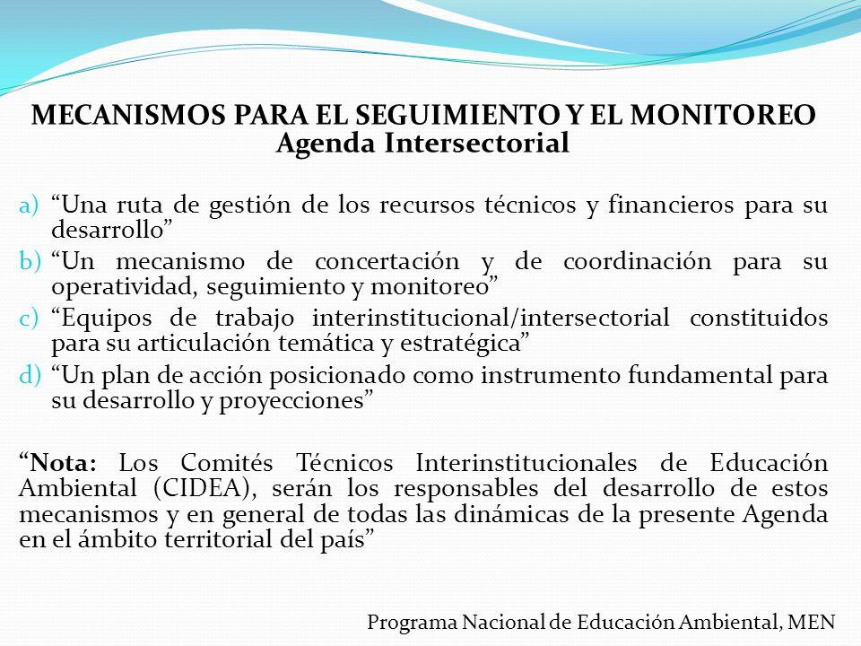 MECANISMOS PARA EL SEGUIMIENTO Y EL MONITOREO Agenda Intersectorial