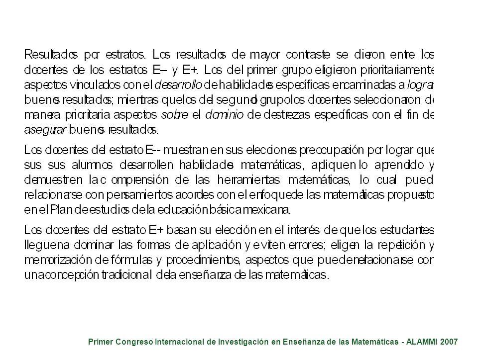 Primer Congreso Internacional de Investigación en Enseñanza de las Matemáticas - ALAMMI 2007