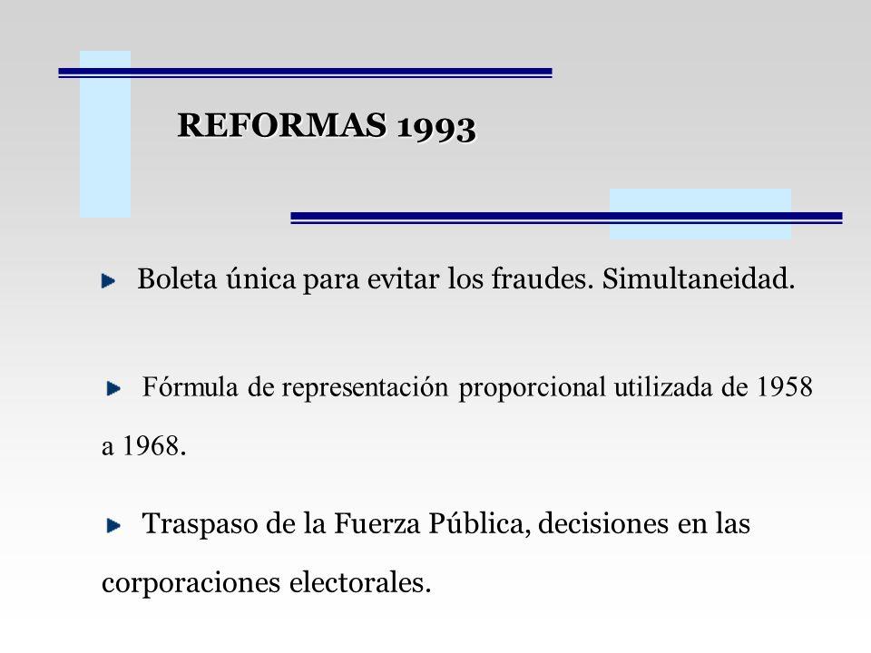 REFORMAS 1993 Boleta única para evitar los fraudes. Simultaneidad.
