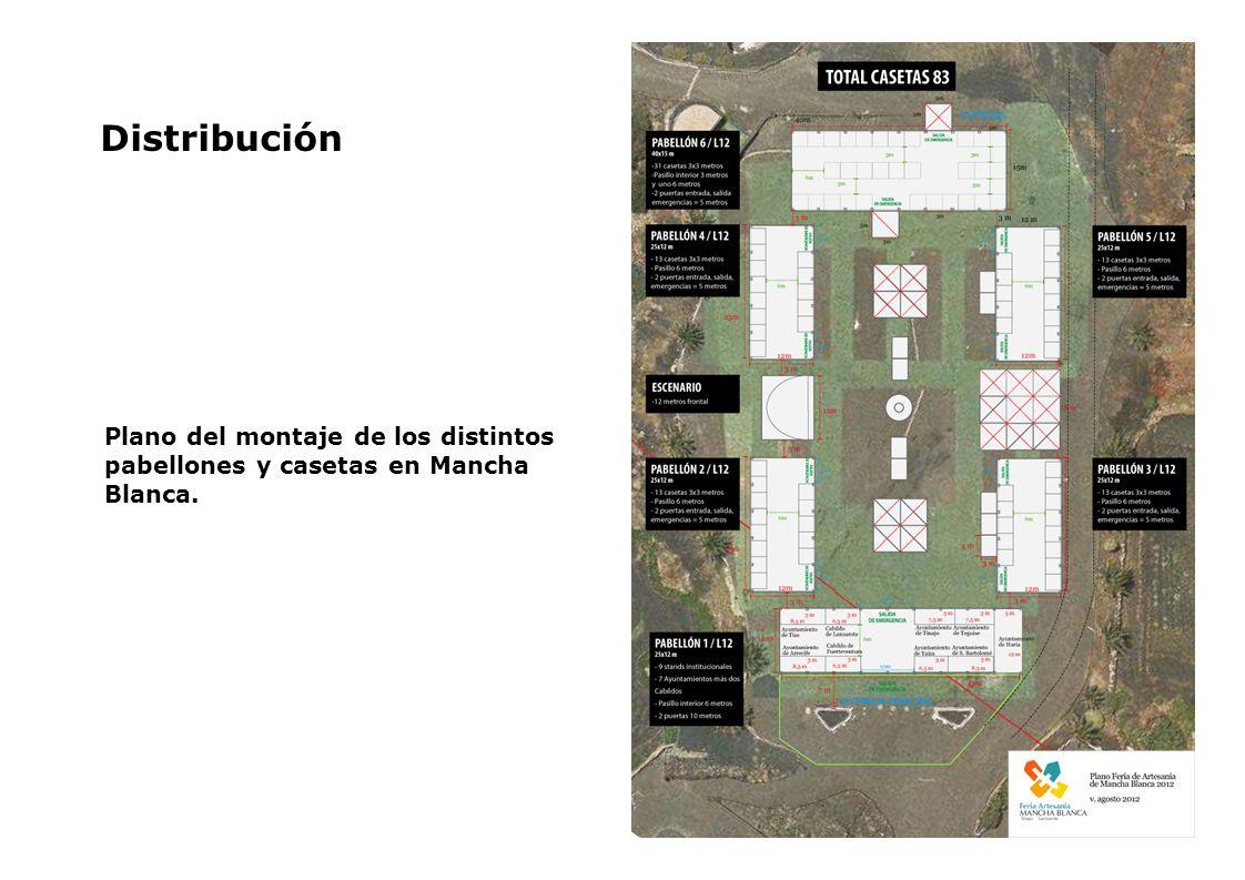 Distribución Plano del montaje de los distintos pabellones y casetas en Mancha Blanca.