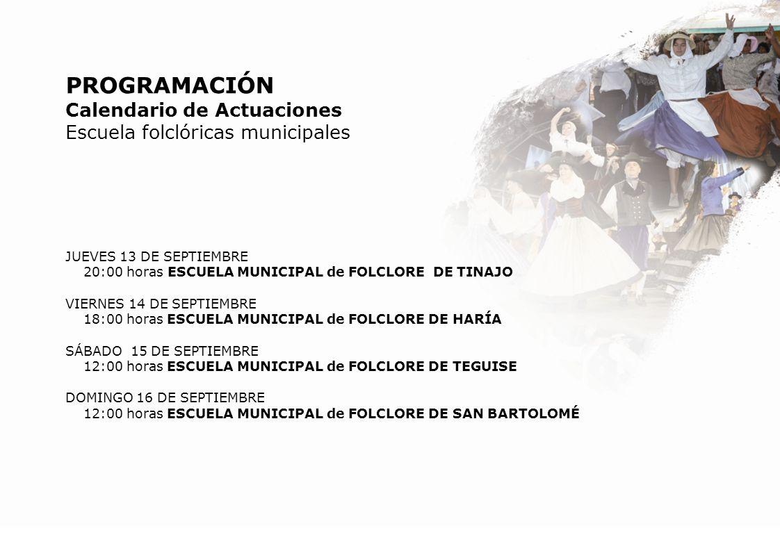 PROGRAMACIÓN Calendario de Actuaciones Escuela folclóricas municipales