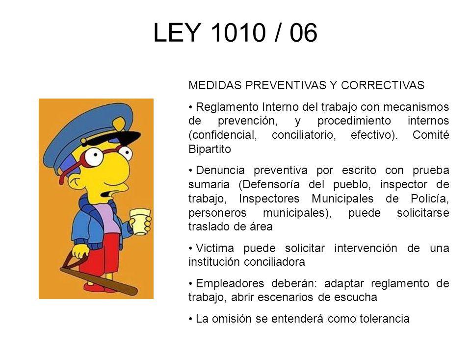 LEY 1010 / 06 MEDIDAS PREVENTIVAS Y CORRECTIVAS