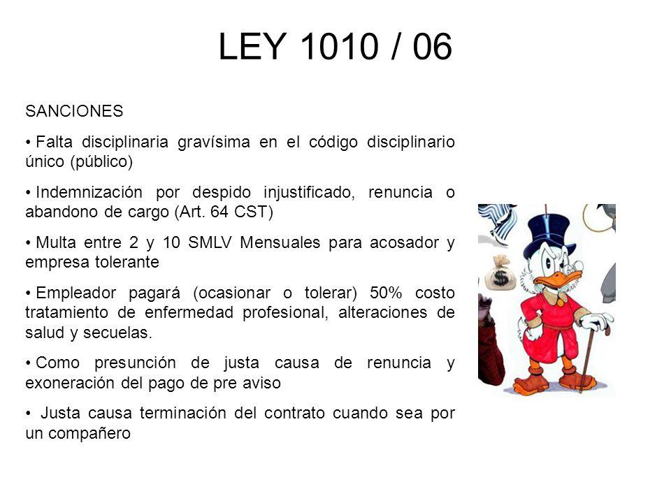 LEY 1010 / 06 SANCIONES. Falta disciplinaria gravísima en el código disciplinario único (público)