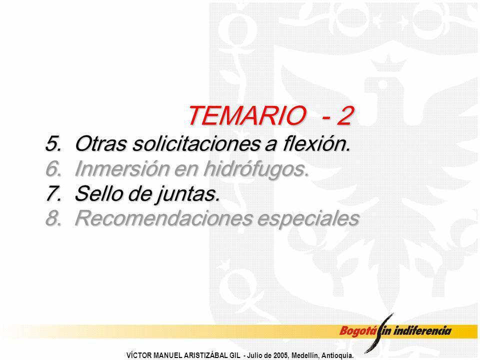 TEMARIO - 2. 5. Otras solicitaciones a flexión. 6