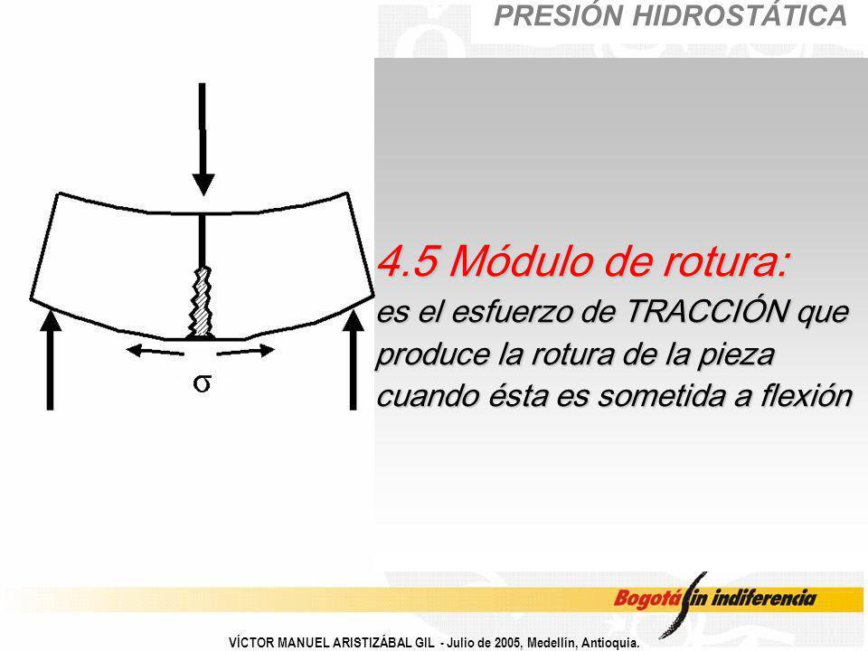 PRESIÓN HIDROSTÁTICA 4.5 Módulo de rotura: es el esfuerzo de TRACCIÓN que produce la rotura de la pieza cuando ésta es sometida a flexión.