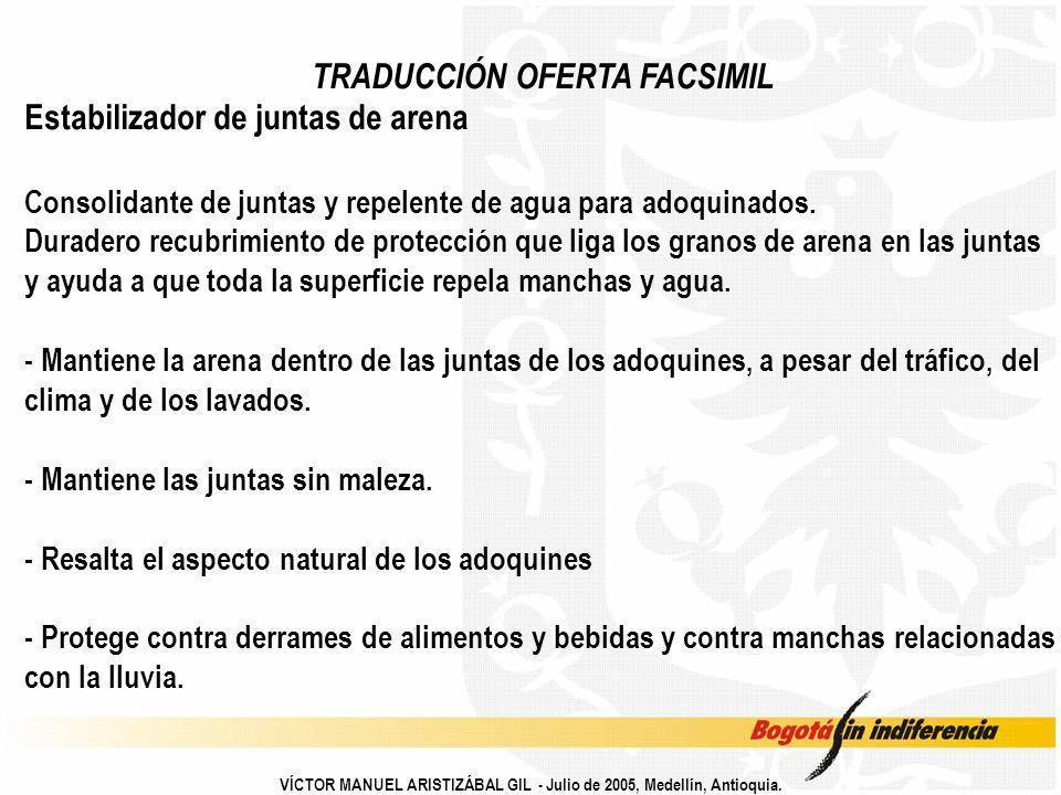 TRADUCCIÓN OFERTA FACSIMIL