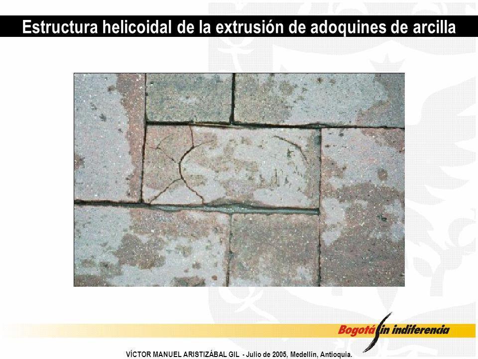 Estructura helicoidal de la extrusión de adoquines de arcilla