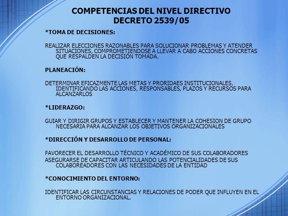 COMPETENCIAS DEL NIVEL DIRECTIVO DECRETO 2539/05
