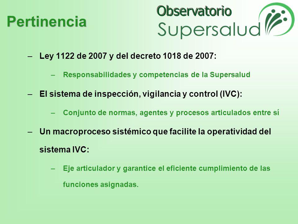 Pertinencia Ley 1122 de 2007 y del decreto 1018 de 2007: