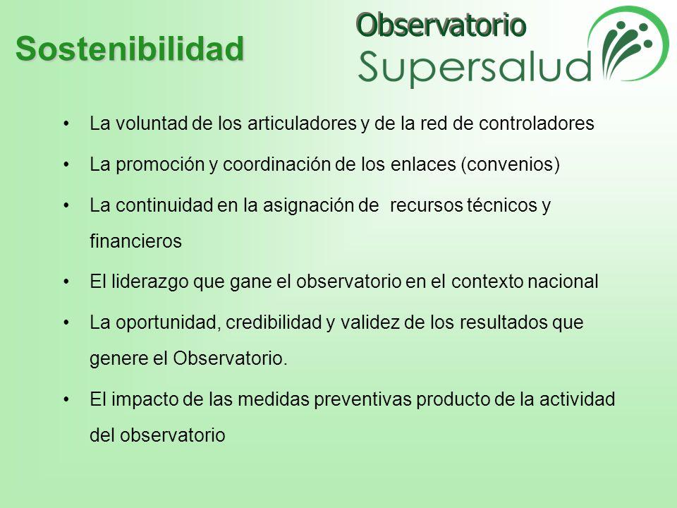 Sostenibilidad La voluntad de los articuladores y de la red de controladores. La promoción y coordinación de los enlaces (convenios)