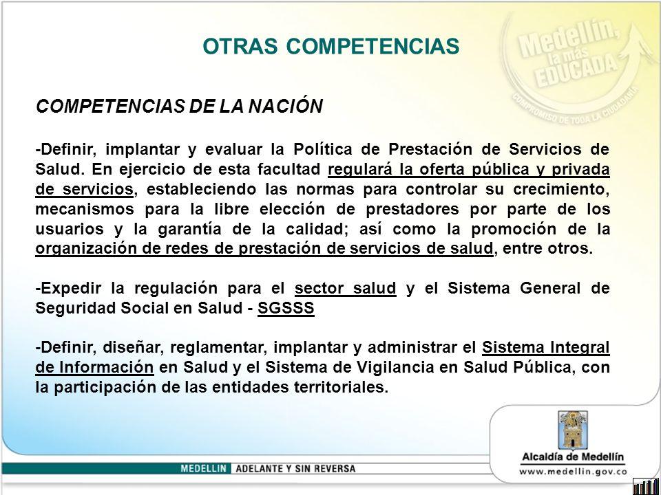 OTRAS COMPETENCIAS COMPETENCIAS DE LA NACIÓN