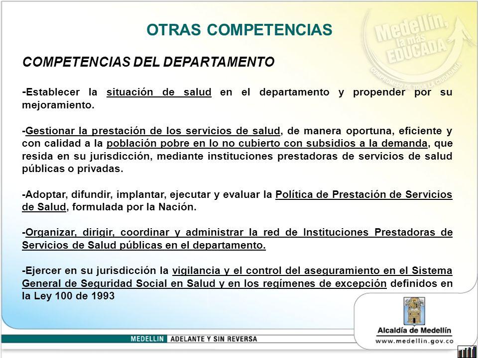 OTRAS COMPETENCIAS COMPETENCIAS DEL DEPARTAMENTO